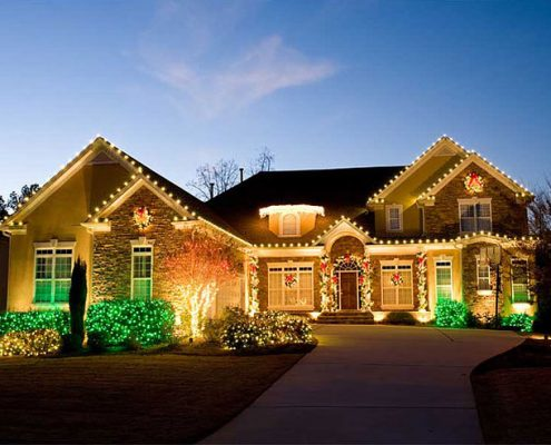 A holiday light installation from Christmas Décor by Valley Green Companies.
