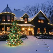 House basking in the glow of a successful residential Christmas light installation.