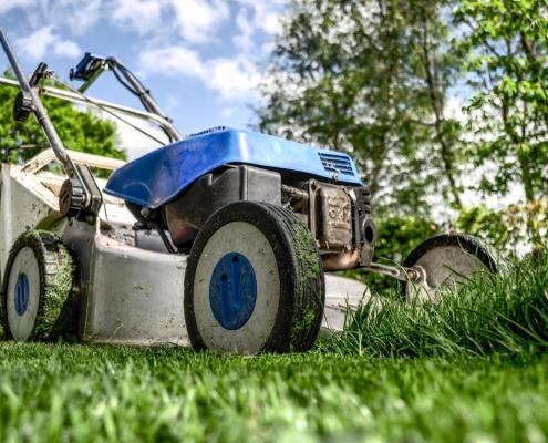 Push lawnmower on a fresh cut green lawn.